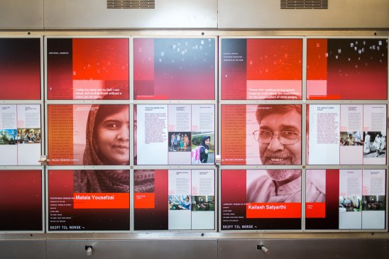 Malala Yousafzai og Kailash Satyarthi i veggavisen på Nobels Fredssenter. Foto: Johannes Granseth/